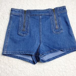 Free People Be Mine Double Zip High Rise Shorts 28
